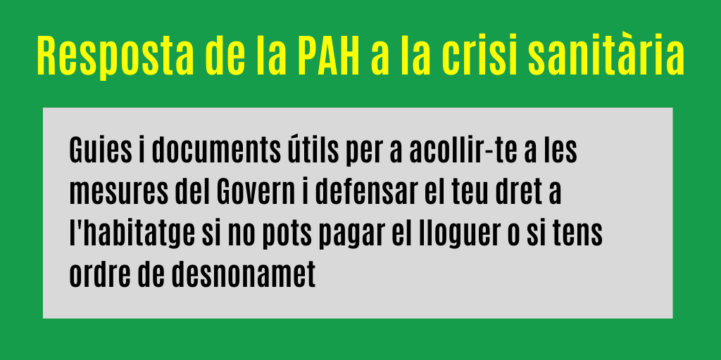 La PAH davant la crisi de la COVID-19