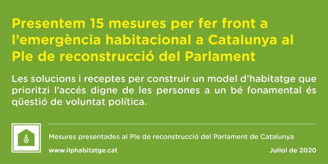 Read more about the article El Grup Promotor de la Llei 24/2015 presentem les nostres propostes pel Ple de Reconstrucció